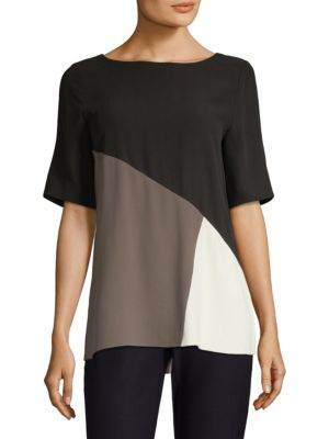 Silk Colorblock Top
