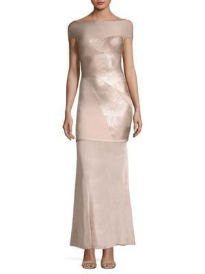 Off-The-Shoulder Foil Gown