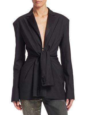 Tie Front Tuxedo Jacket