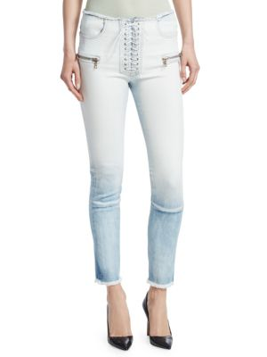 Gradient Lace-Up Skinny Jeans