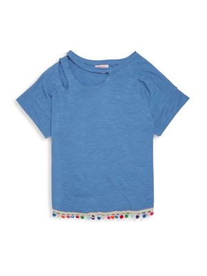 Girl's Pom-Pom Trim Top