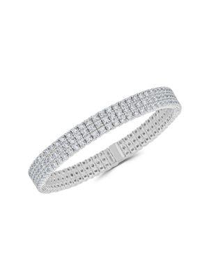 Stretch 18K White Gold & Diamond 3-Row Bracelet