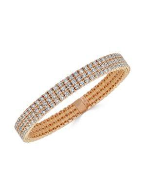 Stretch 18K Rose Gold & Diamond 3-Row Bracelet