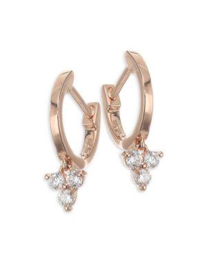 Mini Rose Gold & Diamond Huggies