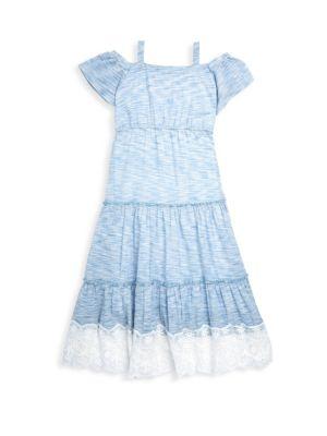 Girl's Cold-Shoulder Space Dye Maxi Dress