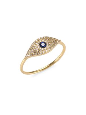 Diamond, Sapphire & Rose Gold Evil Eye Ring