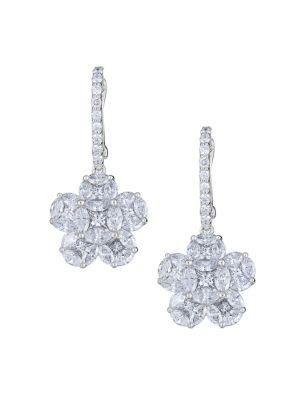 Mosaic 18K White Gold & Diamond Flower Drop Earrings