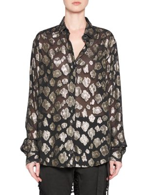 Georgette Metallic Button-Up Blouse