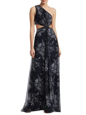 Goldie Inky Silk One-Shoulder Gown