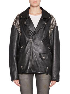 Oversize Studded Leather Biker Jacket