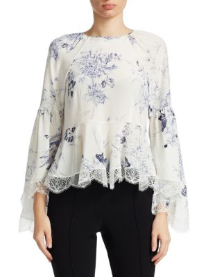 Inky Floral Avalon Silk Peplum Top
