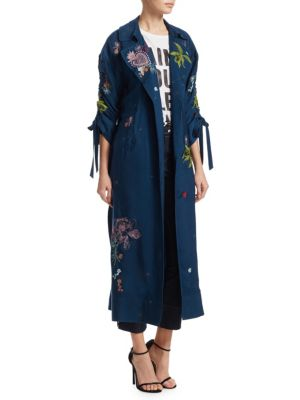 Aziza Embroidered Duster Jacket