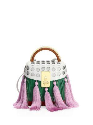 Green Multi Tassel Box Bag