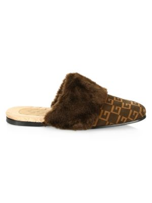 Suede Square G & Faux-Fur Slipper