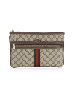 OPHIDIA GG SUPREME CANVAS ZIP POUCH - BEIGE