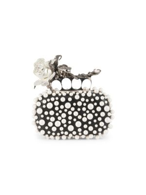 FOUR-RING ROSE & FAUX-PEARL CLUTCH