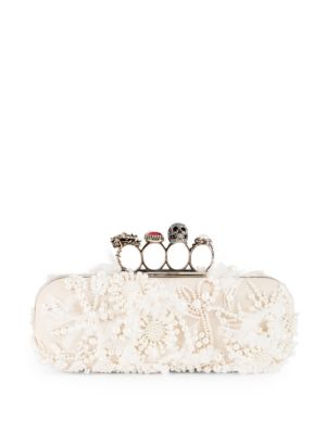 Four Ring Leather Box Clutch