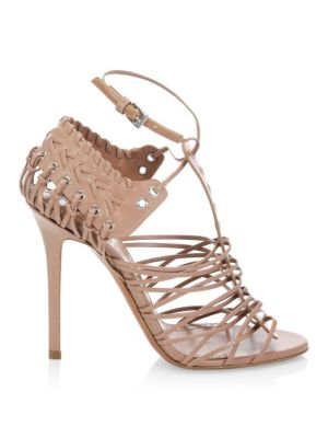 Caged Stiletto-Heel Leather Sandals