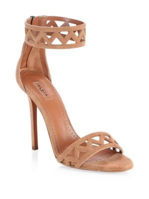 Suede Cut-Out Ankle Wrap Sandals