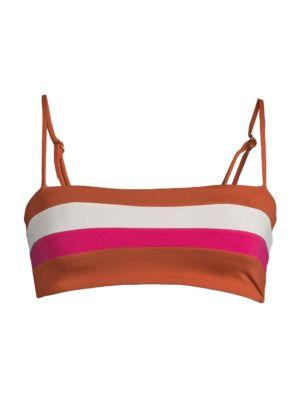 Rebel Striped Bikini Top