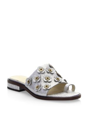 Carly Silver Floral Sandals