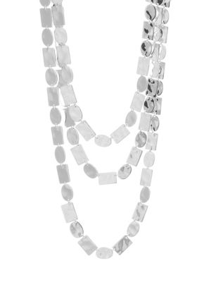 Classico Sterling Silver 3-Row Bib Necklace