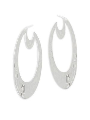 Large Oval Sterling Silver Statement Earrings