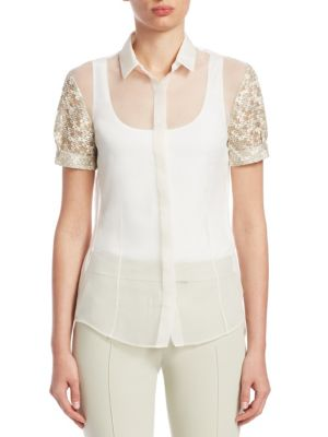 Embroidered Silk Puff-Sleeve Top