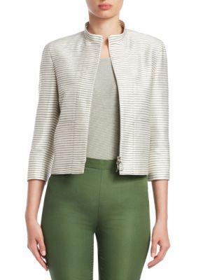 Striped Silk Elbow-Sleeve Jacket