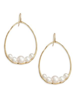 Nova Large Gold & Pearl Pear Drop Earrings
