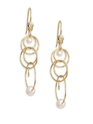 Nova Gold & Pearl Matrix Mini Jet Set Earring