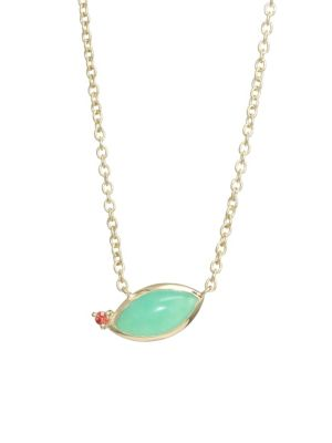 Prisma 18K Gold Angled Marquise Chryophrase Necklace