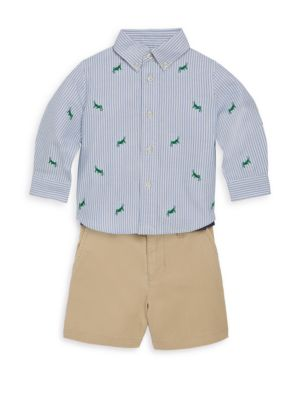 Baby's Embroidered Shirt & Shorts Set