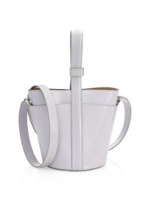 Embellished-Strap Leather Bucket Bag