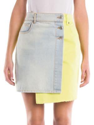 Two Tone Denim Mini Skirt by Msgm