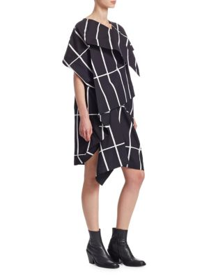 Geometric Print Layered Tucked Dress
