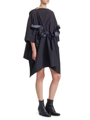 Taffeta Front Ruffle Hooded Dress