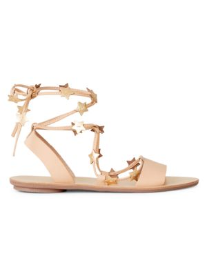 Star Leather Ankle-Strap Sandals