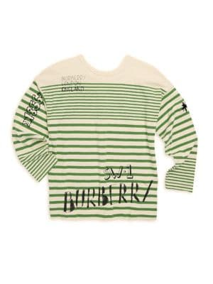 Little Boy's & Boy's Stripe Cotton Logo Tee