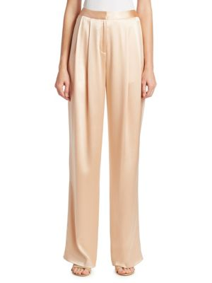 Silk Charmeuse Pleat Front Pants