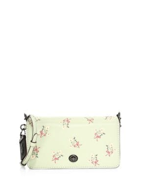 819a4773ca COACH 1941 Floral Bow-Print Dinky Leather Crossbody Bag