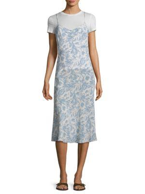 Bias Floral Silk Slip Dress