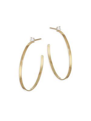 Sunrise Diamond Post Hoop Earrings