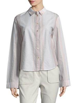 Striped Flared Cotton Button Down-Shirt