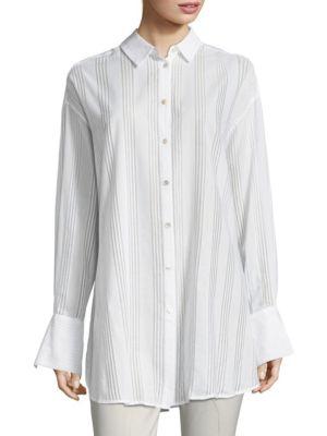 Oversized Cotton Voile Button-Down Shirt