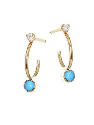 Diamond, Turquoise & 14K Yellow Gold Huggie Hoop Earrings