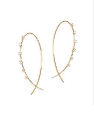 Solo 14K Yellow Gold & Diamond Wire Hoop Earrings
