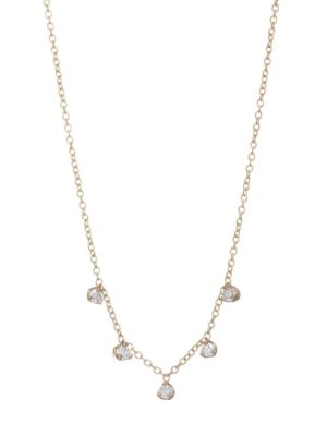 Gold Chain Diamond Drop Necklace