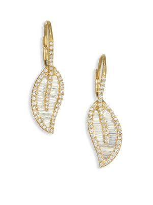 18K Gold & Diamond Leaf Drop Earrings