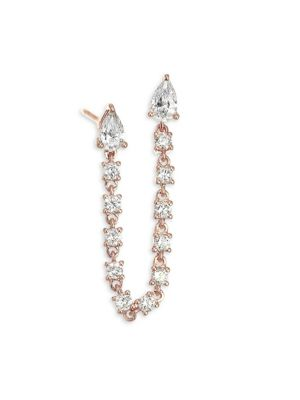 18K Rose Gold & Diamond Double Pear Loop Single Earring